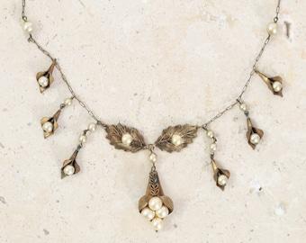 Leaf brass necklace   Antique vintage 1930s brass peal necklace   1930s brass necklace