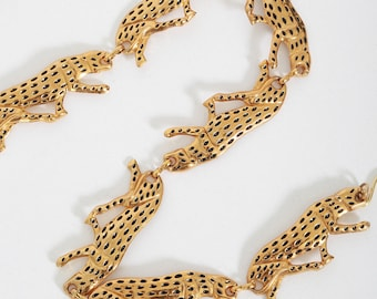 Cheetah belt | Vintage 90s Ann Klein leopard Chain link Belt | Gold cheetah belt