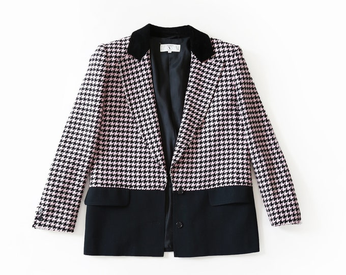 Valentino color block Houndstooth blazer | Authentic Vintage VALENTINO MISS V Blazer