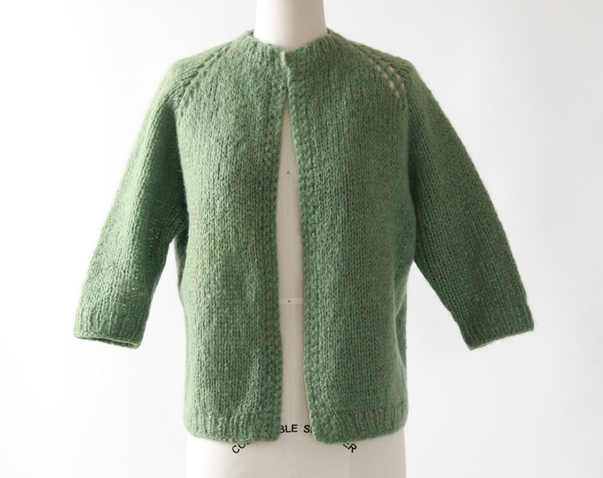 Crochet knit cardigan | Vintage 50s wool knit cardigan  | green knit sweater