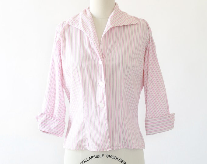 Bentex striped shirt | Vintage 40s pink striped cotton shirt | 1940s blouse