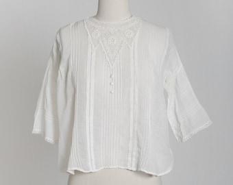 Antique Victorian 1900s natural cotton crochet lace blouse
