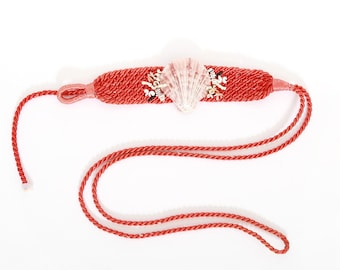 Seashell belt | Vintage 70s 80s coral woven shell