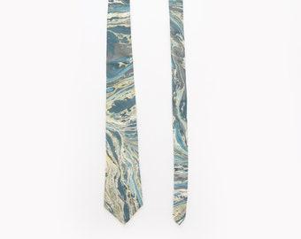 60s hand marble silk tie | Vintage 1960s MadMen wedding Neck Tie