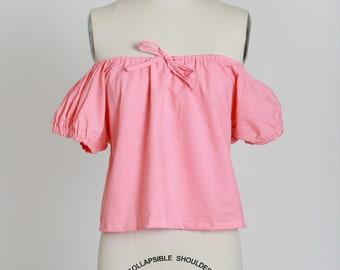 Off the shoulder blouse | Vintage 70s pink cotton blouse | 1970s off the shoulder bow tie top