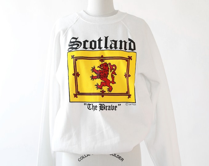 Scotland Reglan sweater  | Vintage 90s white Reglan sweatshirt | Scotland the brave sweatshirt
