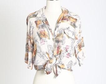 Nautical Indian gauze Top | Vintage 80s sea shell gauze blouse | tie front blouse
