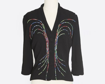 Vintage 40s rayon crepe embroidered rainbow arrow blouse