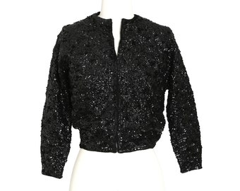 Heavily sequin cardigan | Vintage 1950s black sequin cropped wool cardigan