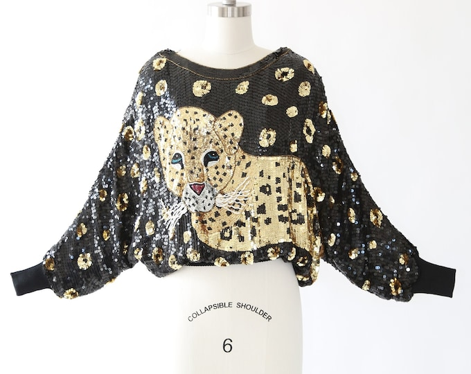 Wild sequin beaded Leopard blouse | vintage 80s silk batwing leopard pint blouse TOP | sequin blouse