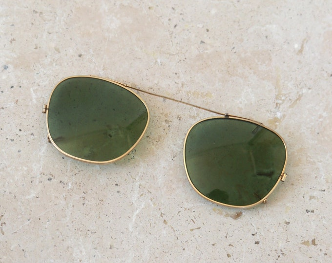 Vintage Bausch & Lomb ray ban clip on green sunglasses wayfarer