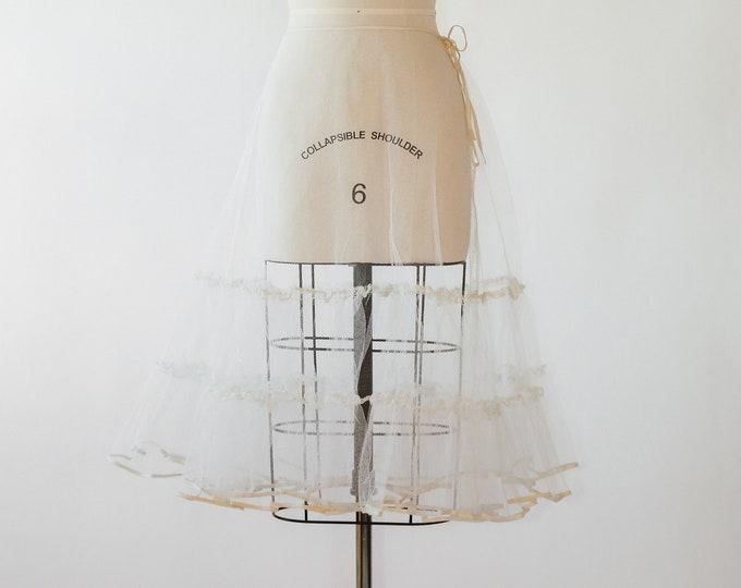 Tulle Petticoat skirt | Vintage 40s ivory tulle Crinoline Petticoat skirt | 1940s Wedding slip petticoat