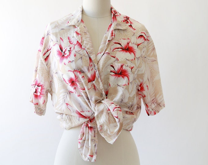 Diane Von Furstenberg Hawaiian shirt | Vintage Hawaiian shirt | DVF topical floral hibiscus blouse