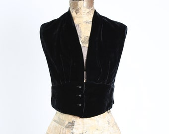 Vintage 40s black velvet halter top