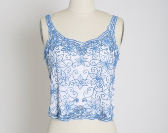 Vintage Bali crochet embroidered floral cropped tank top