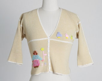 Vintage 70s 3D yarn knit cardigan |  1970s chick cropped cardigan