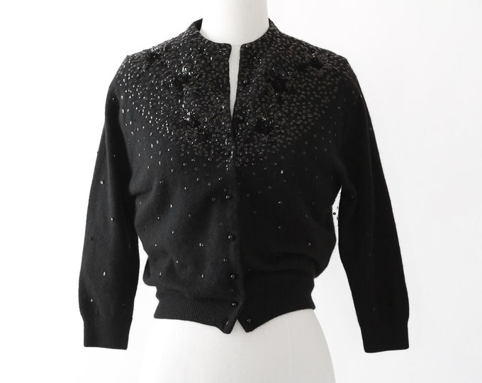 Vintage 40s 50s black sequin star lambswool knit cardigan sweater
