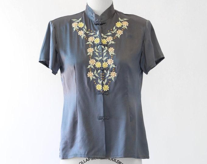 Oriental silk blouse | Vintage 90s floral embroidered silk blouse | mandarin collar blouse