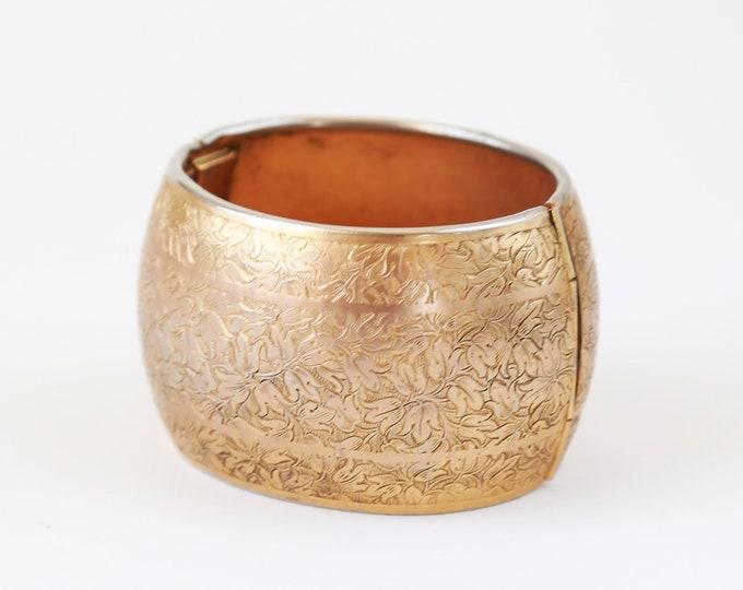 Antique cuff | Vintage Victorian style gold brass bracelet cuff