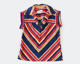 Patty O'neil Chevron top | Vintage 70s striped cotton top