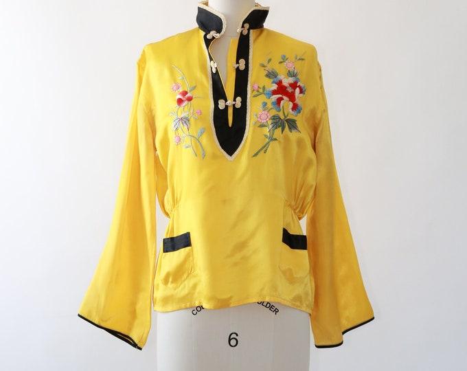 40s Pajama blouse | Vintage 40s Oriental Japanese souvenir blouse | Embroidered floral satin blouse