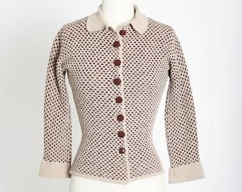 Latté knit Sweater | Vintage 40s knit wool sweater | 1940s diamond knit cardigan