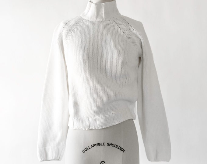 Italian knit turtleneck sweater | Vintage 90s White knit cotton sweater | Minimalist oversized cropped sweater