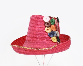 40s high crown tilt hat | Vintage 1940s pink Bermuda straw sun hat | hand woven rainbow straw hat