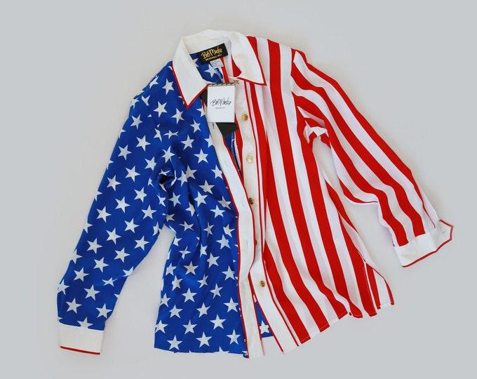 Bob Mackie Silk Wearable Art blouse |  Silk American flag red white & blue blouse