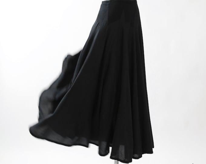 Black full skirt | Vintage 90s woven cotton maxi skirt
