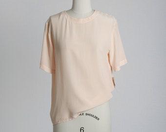 Pedal pink silk blouse | Vintage 90s NOS silk top