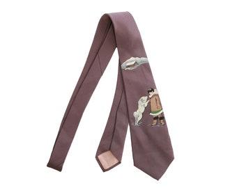 Eskimo tie | Vintage 40s 50s hand painted tie | Novelty Alaska mushing tie