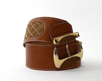 Vintage I.Magnin brown Italian leather quilted belt