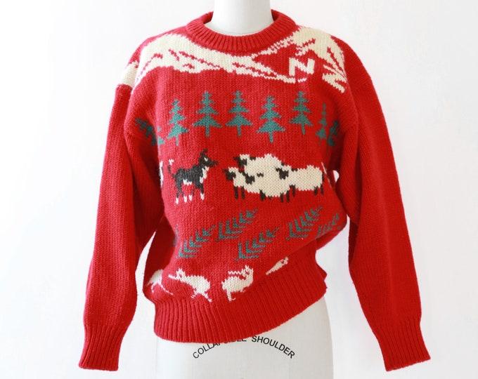 Woodland knit sweater | Vintage 80s New Zealand knit wool sweater |  Snowy Peak wool sweater