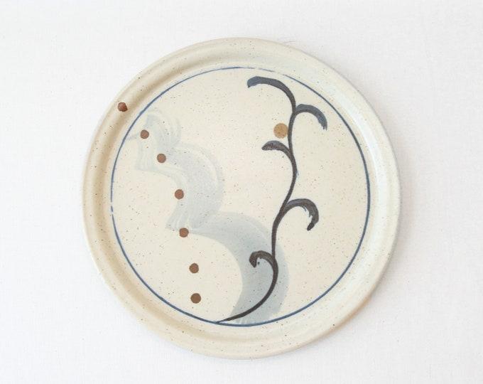 Yiri stoneware studio art pottery plate |  Vintage Mid Century Modern ceramic studio art POTTERY abstract plate