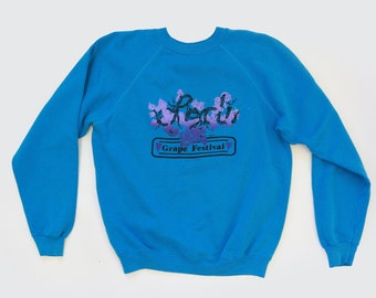 SALE! Raglan Lodi CA sweater  | Vintage blue Reglan sweatshirt | Lodi Grape Festival