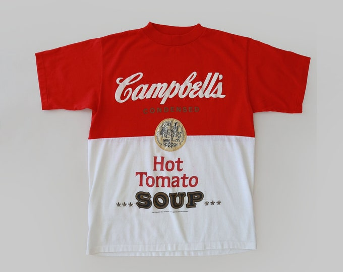 Campbell's soup novelty tee   RARE Vintage 1980s Campbell's soup HOT TOMATO T-Shirt   Andy Warhol style tee
