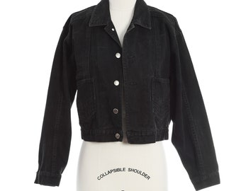 Vintage 90s cropped black denim Jean Jacket