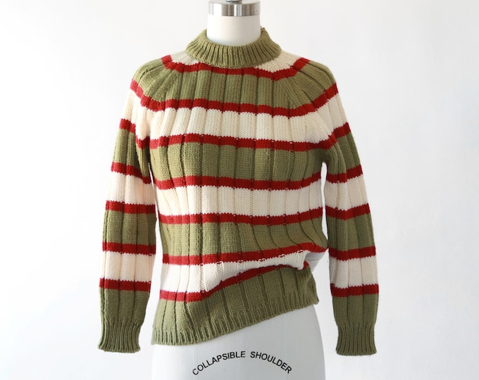 May company knit sweater  | Vintage 60s striped wool knit sweater | Italian knit sweater