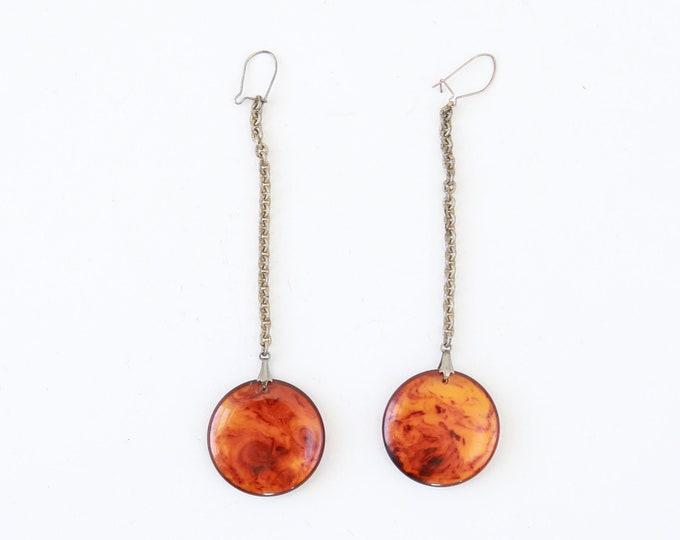 MOD dangle earrings | Vintage Bakelite earrings | butterscotch circle earrings