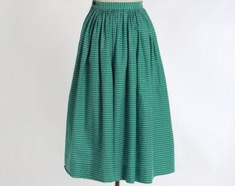 50s green striped cotton skirt