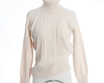 L.L Bean fisherman sweater   Vintage wool cable knit turtleneck sweater S
