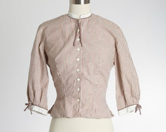Grant Ave striped shirt | Vintage 40s striped cotton shirt | 1940s puff sleeve bow blouse