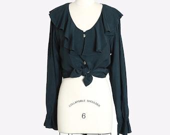 Tie waist blouse | Vintage 90s green ruffle blouse