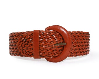 Woven leather belt | Vintage 90s wide braided brown leather belt