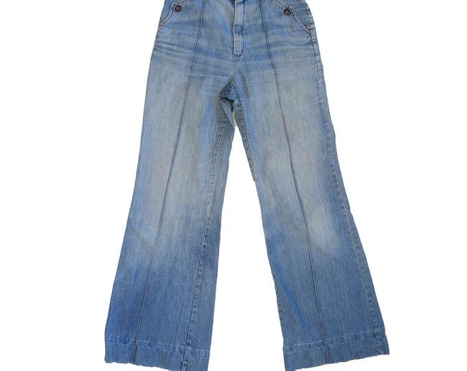 Vintage 70's Bell Bottoms Jeans   High Waisted Denim   Wide Leg Pants   Hippie Boho Bohemian W24 L30