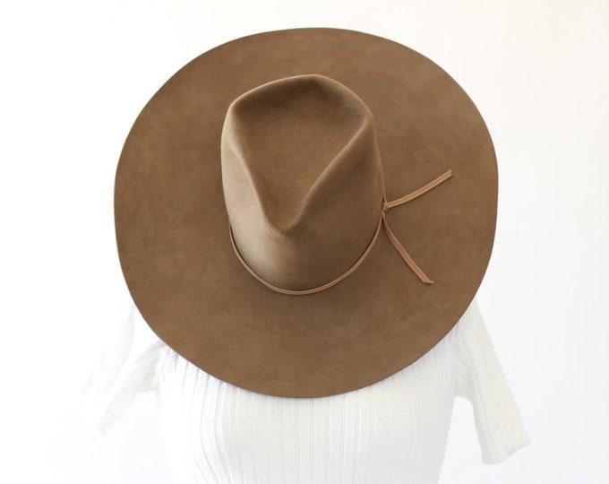 Wide brim Cowboy hat   Vintage 100 beaver cowboy hat   Custom made cowboy hat   Cattleman hat