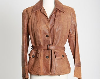 1940s 50s motorcycle leather jacket | vintage 40s 50s perfectly worn in brown leather jacket