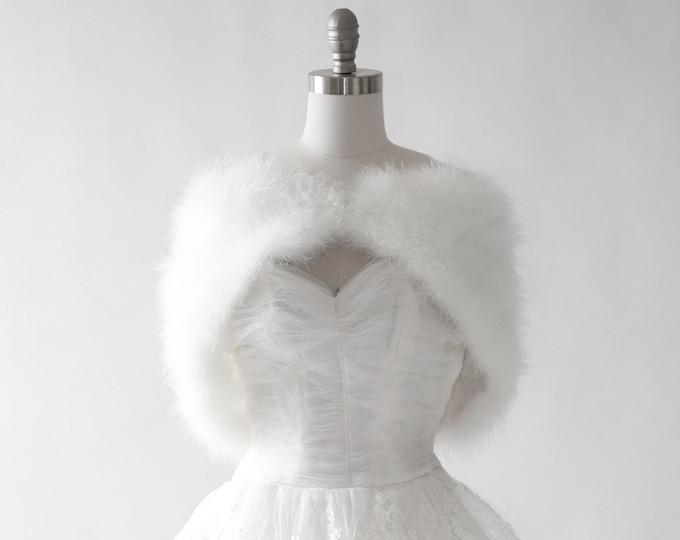 Ostrich feather bolero | Vintage white ostrich feather bolero | Wedding bolero | wedding cape wrap