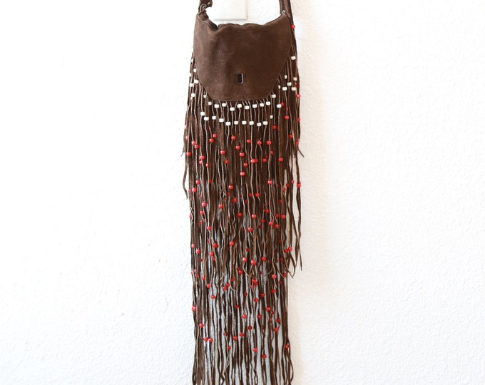 Fringe leather purse | Vintage 70s suede beaded leather fringe purse